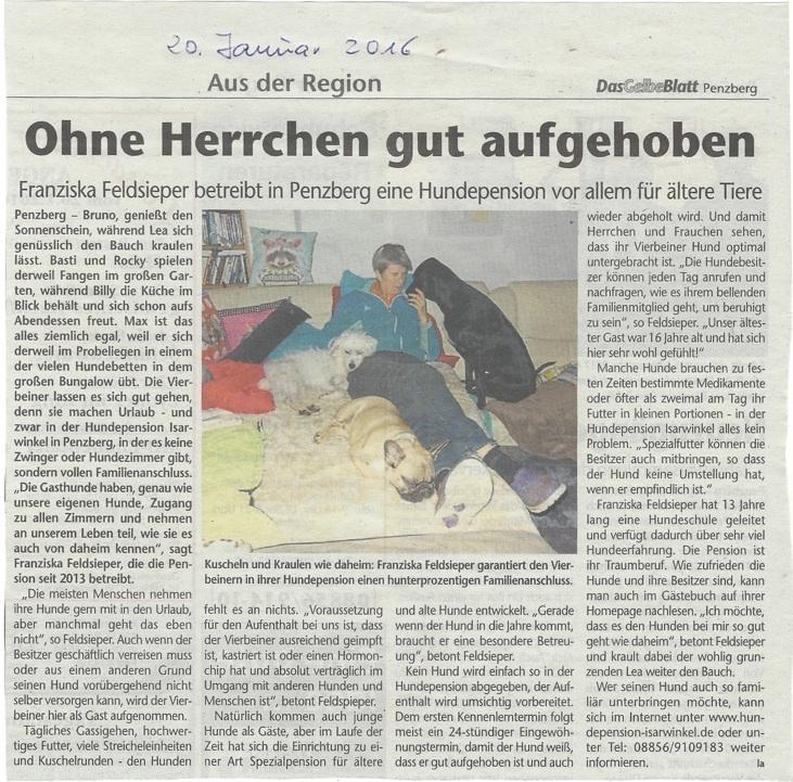 Zeitungsartikel über die Hundepension-Feldsieper